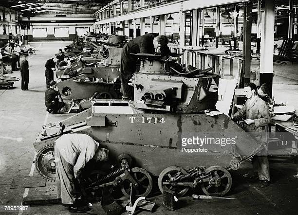 August 1940 Britain Arms Factories Tanks brought back from France after the Dunkirk debacleare repaired ready to go back into battle