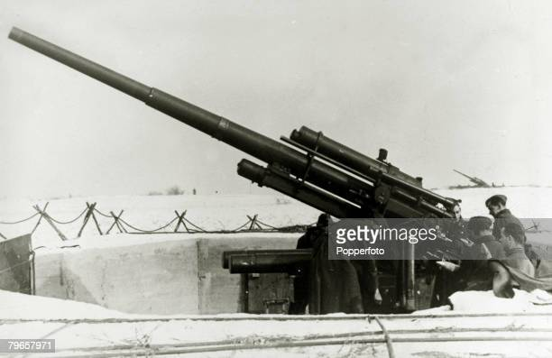 circa 1940 A German antiaircraft post in winter using the famed 88 mm gun