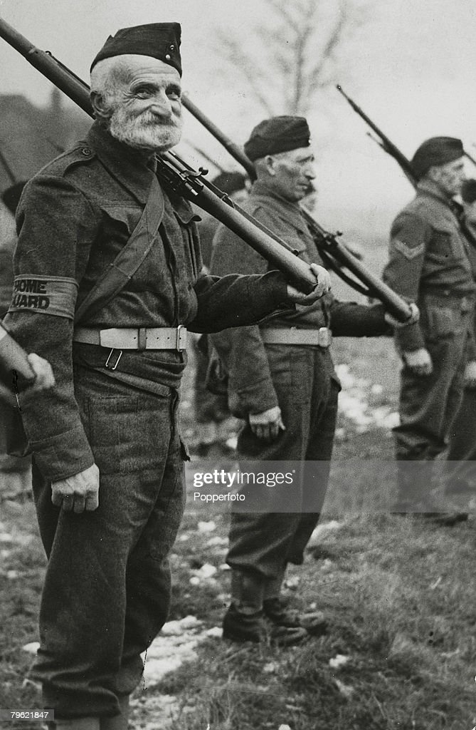 War and Conflict. World War Two. pic: circa 1940. Great Britain. An elderly new recruit on parade for the Home Guard. : News Photo