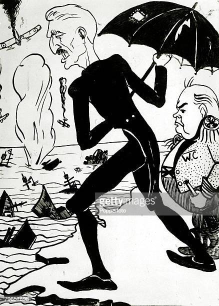 circa 1940 Propaganda A German cartoon shows British politicians Neville Chamberlain left and Winston Churchill surveying the Allied disaster at...