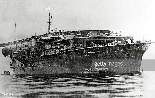circa 1941 The Japanese aircraft carrier Kaga which took part in the Pearl Harbour assault and was sunk at the Battle of Midway in 1942