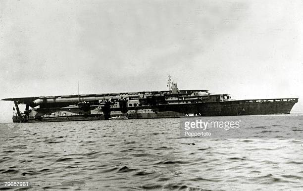 circa 1942 The Japanese aircraft carrier Kaga which took part in the Pearl Harbour assault and was sunk at the Battle of Midway in 1942
