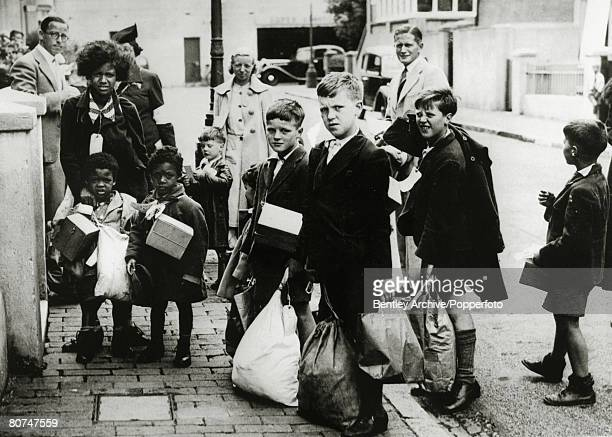 Evacuees Children to be evacuated pictured at Eastbourne Sussex circa September 1939