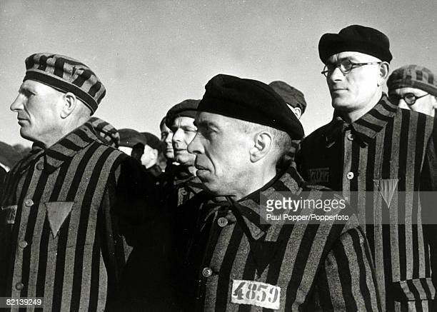 February 1941 Inmates wearing convicts garb at the German concentration camp at Sachsenhausen The camp opened in 1936 and the Nazis held there Jews...