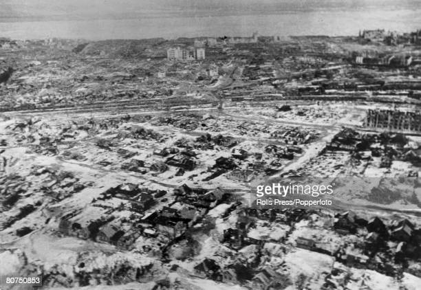 January 1943 Stalingrad Russia An aerial shot of Stalingrad shows the mass destruction caused when the Red Army held the city against the German...