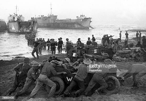 July 1943 Allied troops unloading supplies on the beach during the invasion of Sicily