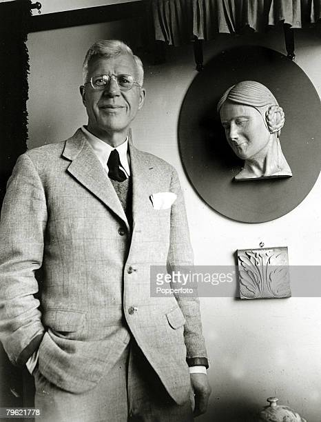 March 1945 A portrait of Barnes WallisBritish aeronautical engineer and inventor the inventor of the bouncing bomb taken at his home at Effingham in...