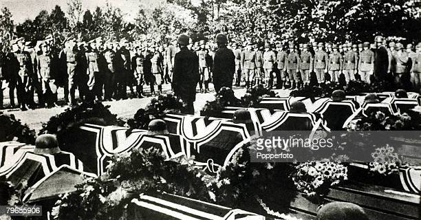 May 1943 Belgrade The scene in a Belgrade cemetry showing the coffins of some of the 25 German soldiers killed in a running fight with some 300...
