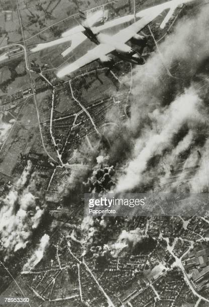 October 1944 A United States Army Air Forces Martin B26 Marauder medium bomber turns for home after bombing with some success railway yards at...