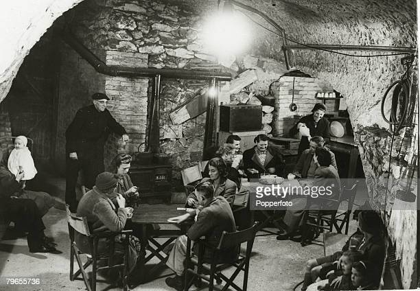 September 1944 Great Britain People sheltering in the caves at Dover where they had stayed in relative safety from German long range guns across the...