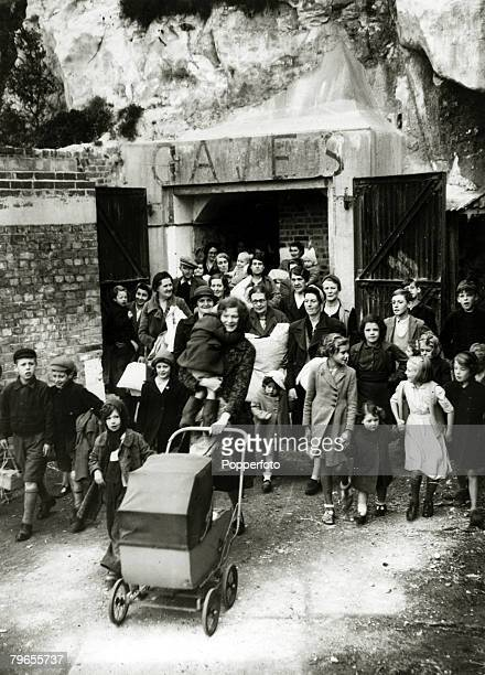 September 1944 Great Britain People leaving the caves at Dover where they had sheltered from German long range guns across the Channel after the...
