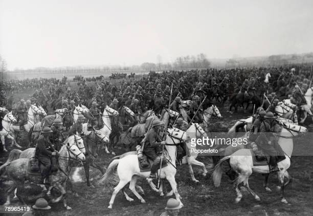 War and Conflict World War Two Poland Circa 1939 Polish Cavalrymen charge across a field