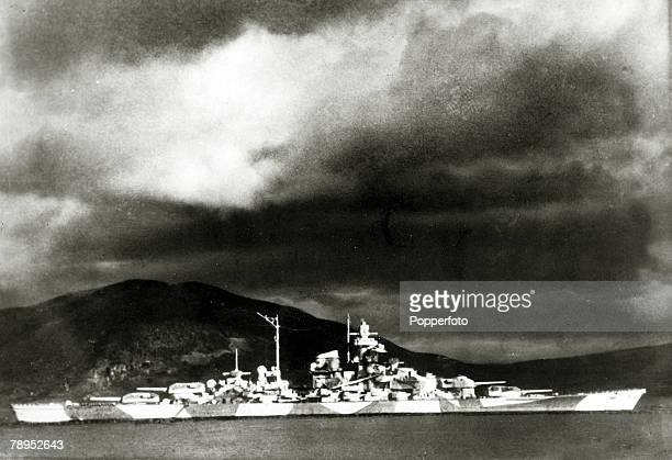 War and Conflict World War Two Sea War December 1942 The German battleship 'Tirpitz' pictured in hiding in a Norwegian fjord