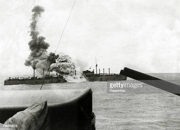 War and Conflict World War Two Sea War pic 1939 The 'Doric Star' blows up after being hit by a torpedo from the 'Admiral Graf Spee' the German...