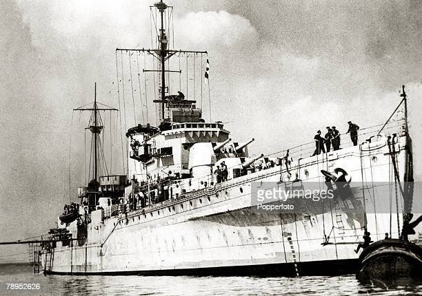 War and Conflict World War Two Sea War pic circa 1939 HMS Ajax one of the British ships that helped with the destruction of the German battleship...