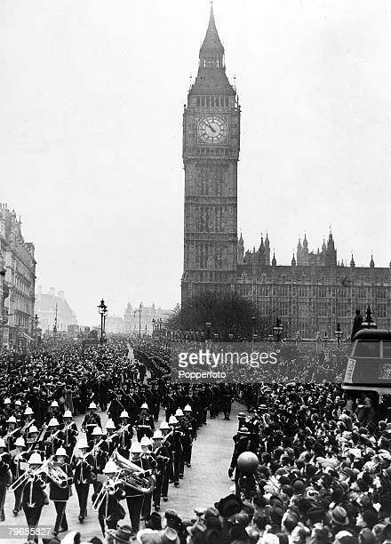 War and Conflict World War Two Sea War pic February 1940 The ships company of Royal Navy ships HMS Exeter and HMS Ajax passing Big Ben given a...