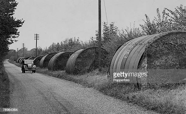 War and Conflict World War Two Social History pic circa 1940 Northamptonshire England This country lane near Gt Billing Northamptonshire being used...