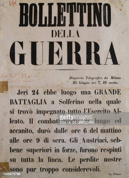 War Bulletin of June 25 with reference to the Battle of Solferino Italy Second War of Independence 19th century