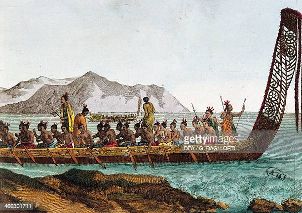 A war canoe from New Zealand engraving 19th century
