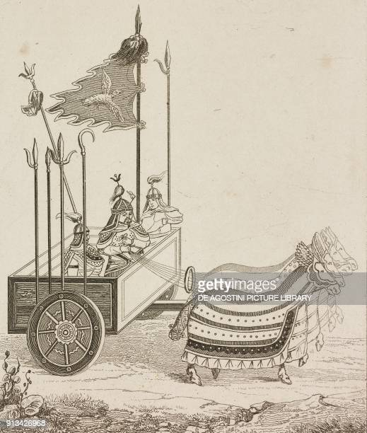 War Chariot for several soldiers China engraving from Chine ou Description historique geographique et litteraire de ce vaste empire d'apres des...