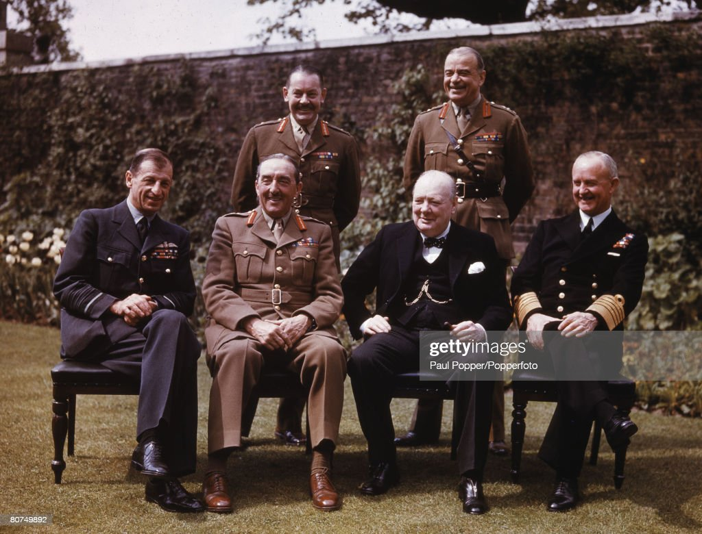 War & Conflict 10 Downing Street garden, London, England 7th May 1945. Chiefs of Staff at Downing Street. Back Row, L-R; Major General Hollis, General Sir Hastings Ismay, Front Row, L-R; Sir Charles Portal, Marshal of the RAF, Field Marshal Sir Alan Broo : News Photo