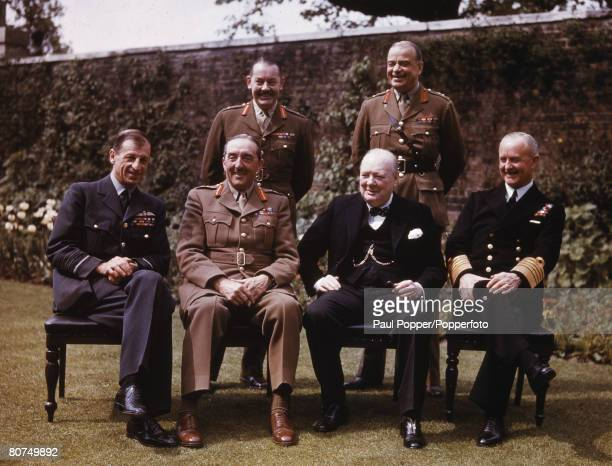 War Conflict 10 Downing Street garden London England 7th May 1945 Chiefs of Staff at Downing Street Back Row LR Major General Hollis General Sir...