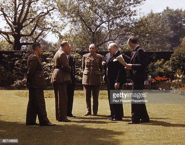 War Conflict 10 Downing Street garden London England 7th May 1945 Chiefs of Staff visit Downing Street LR Major General Hollis General Sir Hastings...