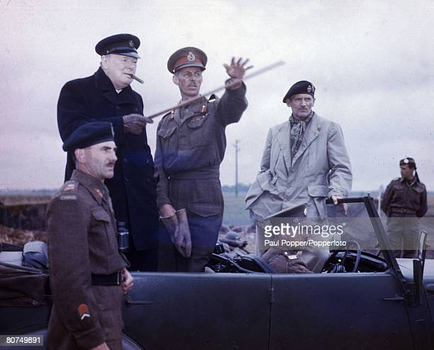 War Conflict World War Two Caen France 22nd July 1944 Enemy postions being pointed out to the Prime Minister Winston Churchill by Lt General Sir...