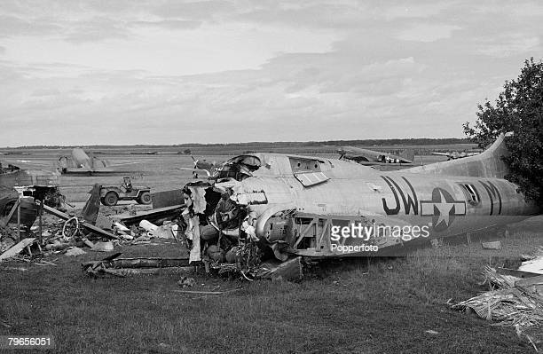 War Conflict World War Two France 17th September 1944 The remains of an American B17 Flying Fortress bomber aircraft found at an airfield near Paris...