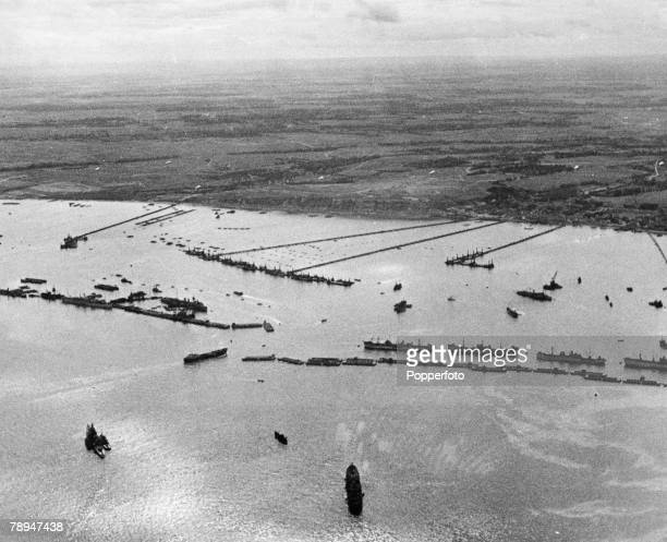 War & Conflict, World War Two, France 7th June 1944, Aerial view of the concrete Mulberry harbour in position at Normandy during the Allied D Day...