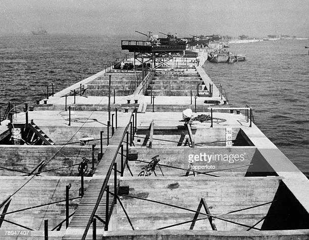 War Conflict World War Two France June 1944 British built Mulberry harbour Made from prefabricated 'caissons' Seen here off the Normandy coast...