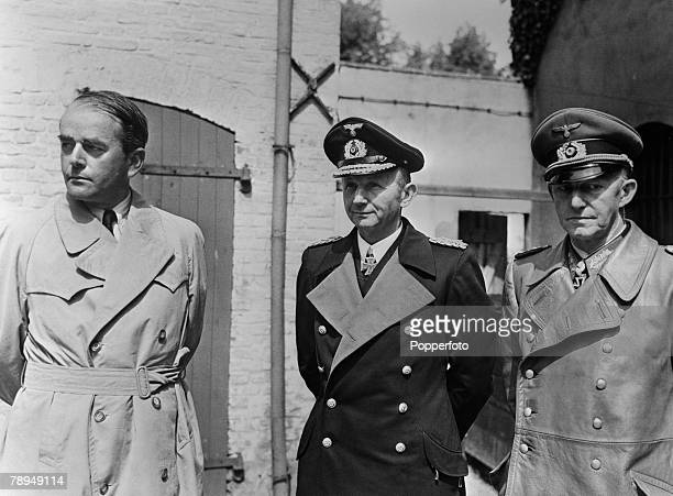 War Conflict World War Two Senior German Commanders captured at the end of the war LR Dr Albert Speer Admiral Doenitz and General Alfred Jodl