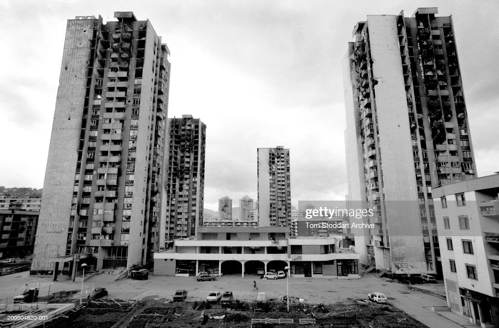 Bosnia, Sarajevo - September 1994. War damaged high rise apartment blocks in Sarajevo. The area was known as Heroes Square because of the intense fighting and shelling which made it very dangerous for people to live there. During the 47 months between the spring of 1992 and February 1996, the people of Sarajevo endured the longest siege Europe has witnessed since the end of the Second World War. More than 10,600 people were killed with a further 56,000 wounded or maimed.