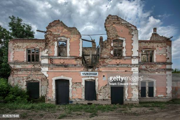 war damaged train station, vukovar, croatia - vukovar war stock photos and pictures