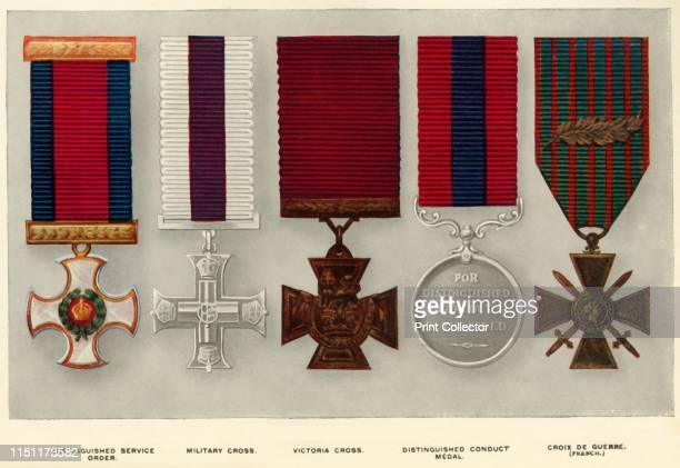 War Decorations' Four British medals and one French medal awarded during the First World War 19141919 Distinguished Service Order Military Cross...
