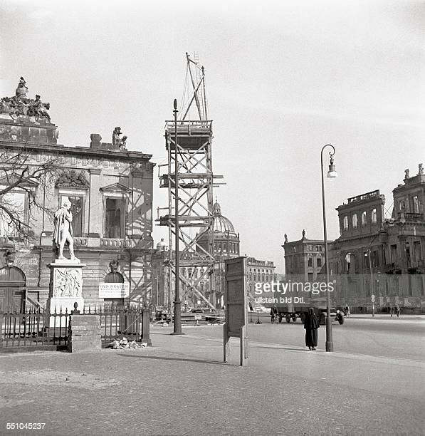 War destructions in Berlin Mitte The street Unter den Linden with the bombed Berliner Schloß in the background At left the Zeughaus at right the...
