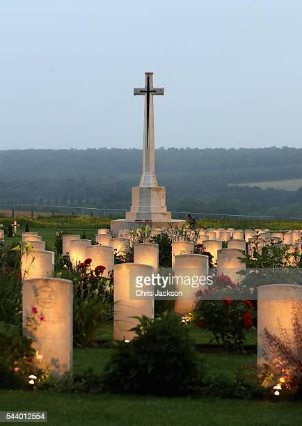 War graves at Thiepval Memorial to the Missing of the Somme during Somme Centenary Commemorations on June 30 2016 in Thiepval France