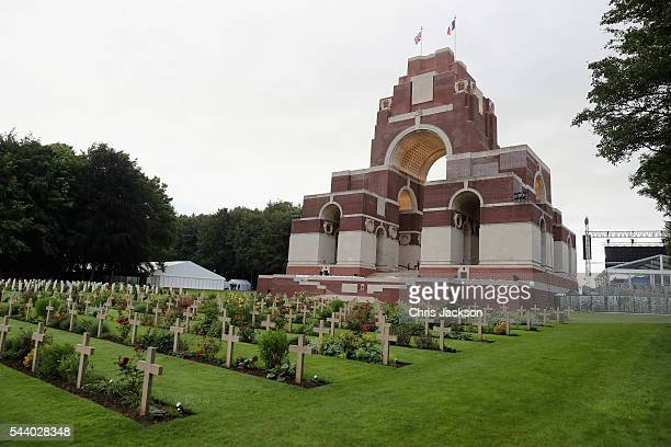 War graves at Thiepval Memorial to the Missing of the Somme during Somme Centenary Commemorations on July 1 2016 in Thiepval France