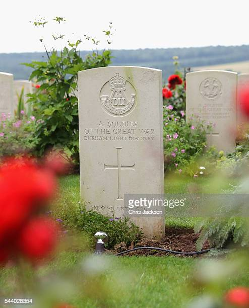 War graves at Thiepval Memorial to the Missing of the Somme during Somme Centenary Commemorations on July 1, 2016 in Thiepval, France. Today marks...