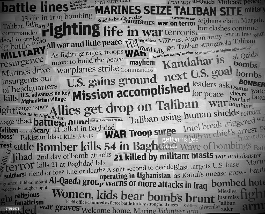 war headlines black and white with vignette : Stock Photo