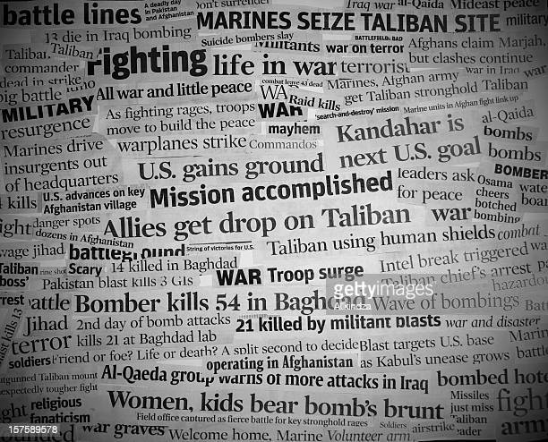 war headlines black and white with vignette