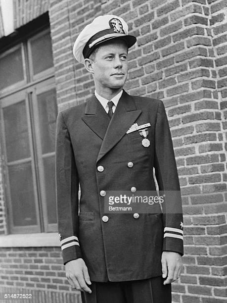 War hero, John Kennedy was Lieutenant when this photo was taken in 1944. Kennedy had served as a PT-Boat Commander in the Pacific.