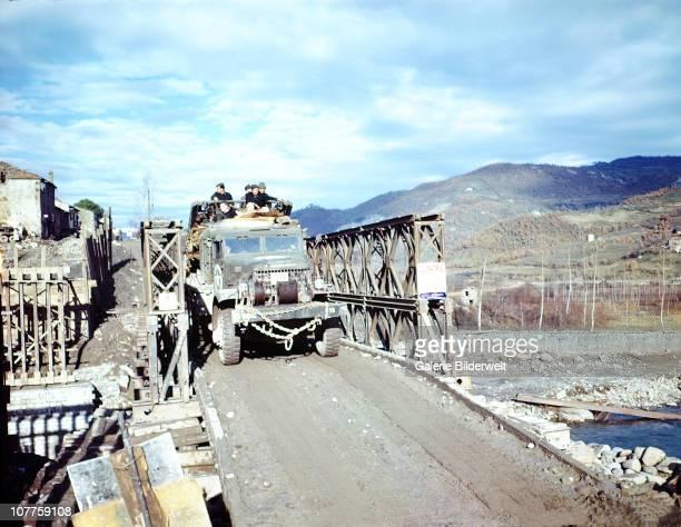War In Emiglia Romagna United States Army trucks are crossing the Rio Maggiore near Poretta in the Province of Bologna October 1944The Gothic Line...