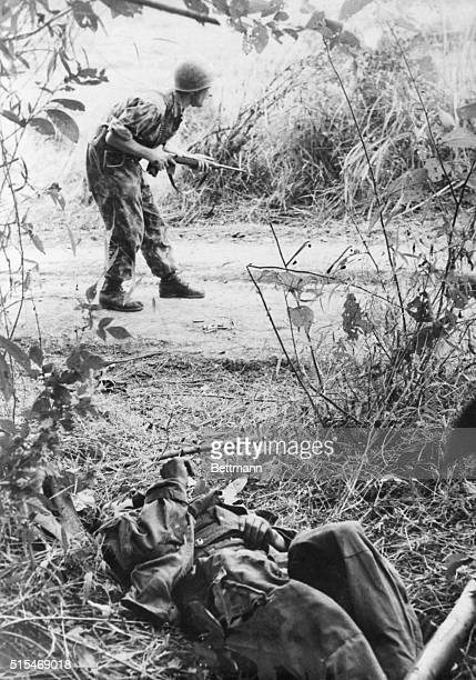 War In IndoChina In the area of Black River where heavy fighting is in progress a French parachutist searches the jungle where snipers laid an ambush