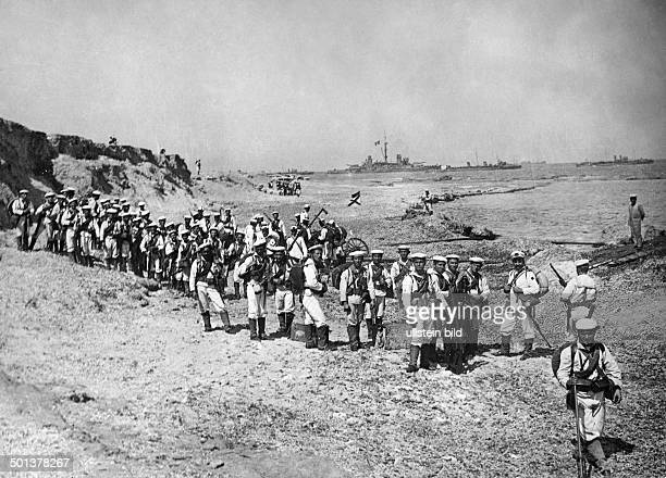 War in Libya between Italy and the Ottoman Empire in 1911/1912 Italian marines landing on the Libyan shore near Tripoli probably in September 1911
