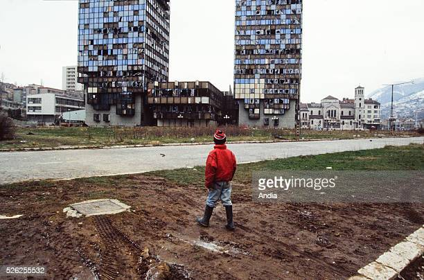 War in the former Yugoslavia February 1994 the capital city of BosniaHerzegovina during the siege of Sarajevo By Sniper Avenue a child at the bottom...