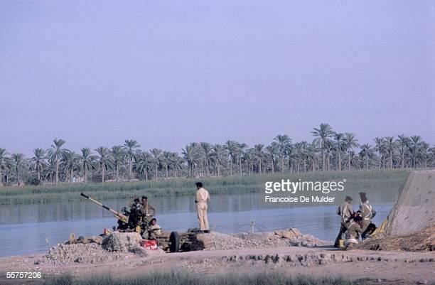 War Iran Iraq Iraqi offensive Standard at the edge of Chatt alArab Iran in October 1980 FDM10534