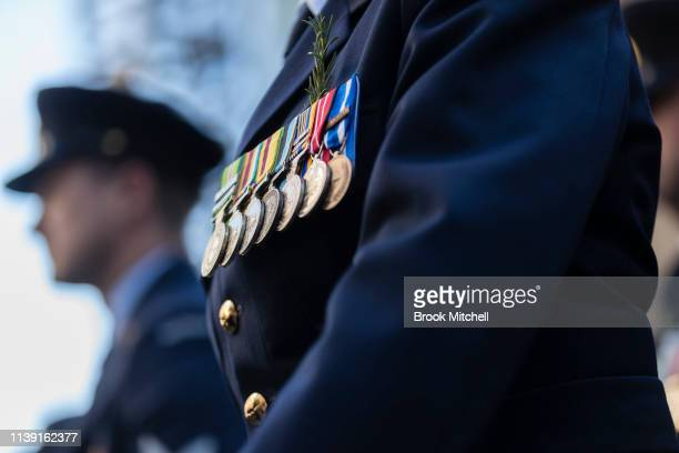 War medals are pictured during the ANZAC Day March on April 25 2019 in Sydney Australia Australians commemorating 104 years since the Australian and...