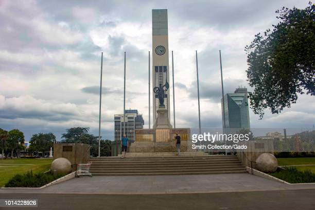 War Memorial and the Clock Tower in the middle of the Square in Palmerston North, Manawatu, New Zealand, November 27, 2017.