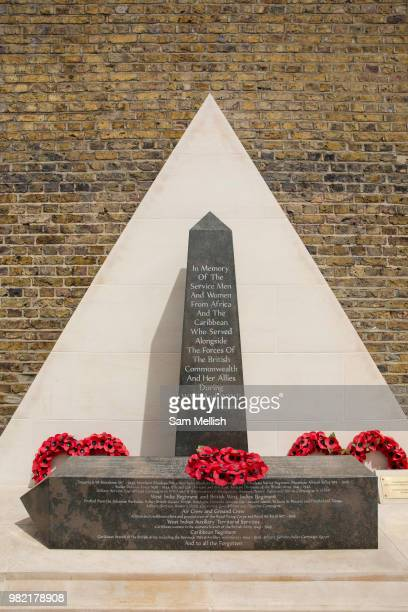 A war memorial at Windrush Square during the 70th anniversary of the arrival of the passenger liner Empire Windrush and the men and women who came to...